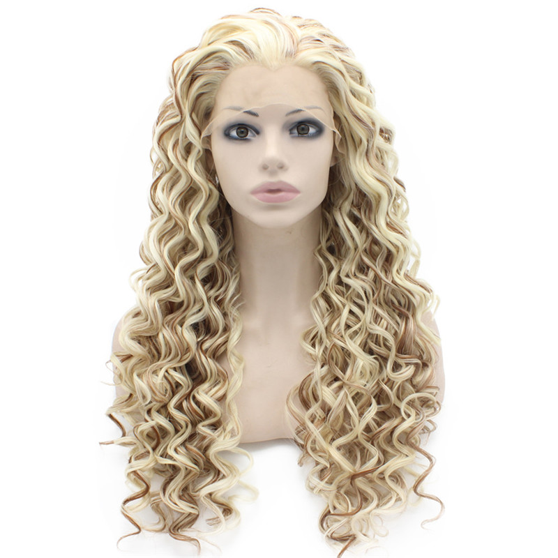 iwona oriental free shipping fashion hot selling two tone 1b 30 afro kinky curly synthetic lace front wig for black woman