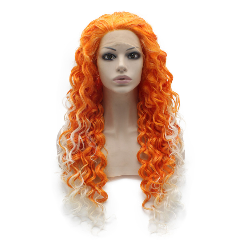iwona long curly orange synthetic lace front costume party wig