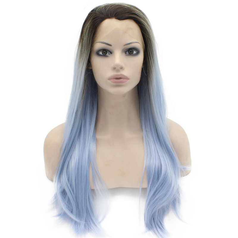 iwona long straight synthetic lace front wig two tone glueless hair ombre blonde dark root heat resistant fibers hair