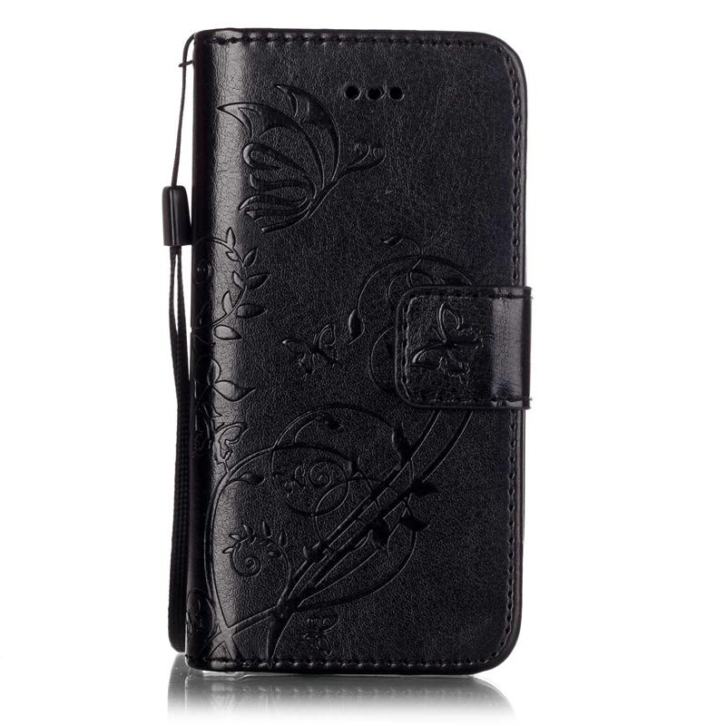 GANGXUN черный цветочный дизайн кожа pu откидная крышка бумажника карты держатель чехол для iphone 4s