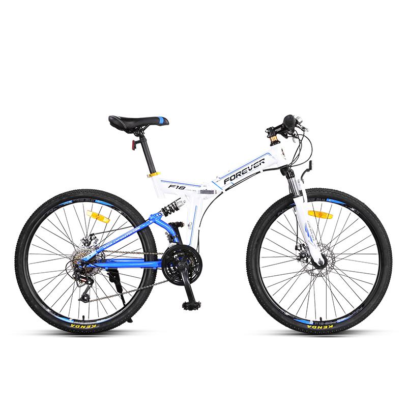 JD Коллекция Белый Синий behee 26 дюймы 21 скорость складной горный велосипед средняя ось двойной дисковый тормоз