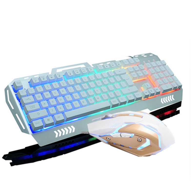 RAJFOO Слоновая кость проводная клавиатура и мышь набор клавиатура проводная мышь и клавиатура установлена компьютерная периферия