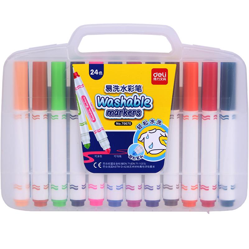 JD Коллекция 24 цветов Толстый вал эффективный дели 70653 может быть большой емкость стиральным вдоль цвета маркеров 18
