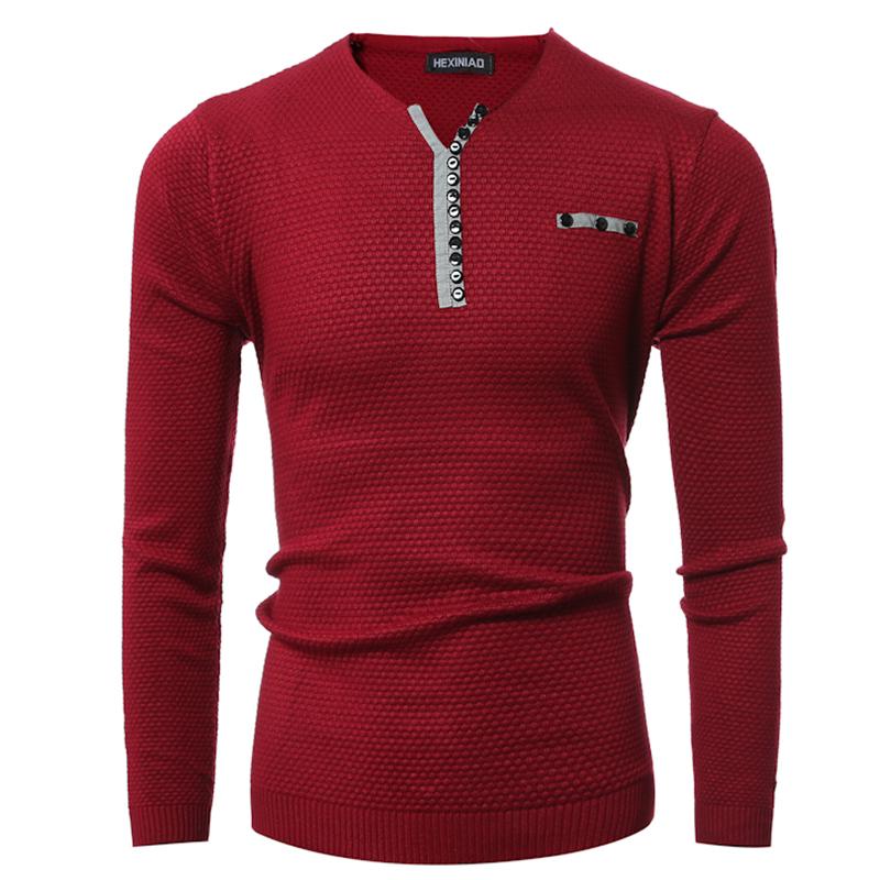 CT&HF Красный цвет Номер XL аши дейтон мужские v образным вырезом свитер пуловер свитер сплошной цвет мужчин случайный с длинными рукавами свитер бордовый 180 xl a4090057