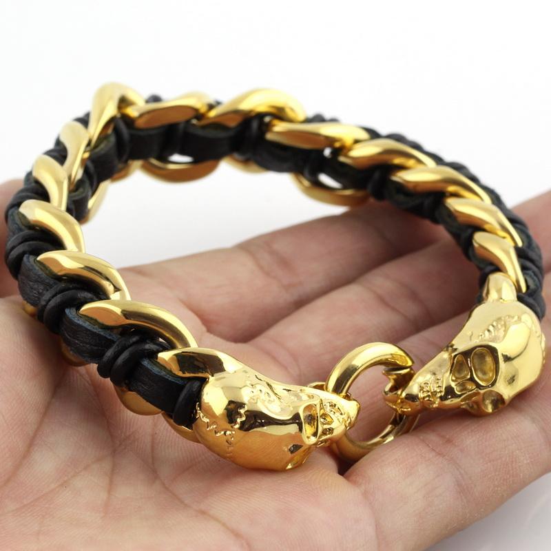 Hpolw череп натуральная кожа мужской браслет из нержавеющей стали wrap браслет для мужчин классический браслет мужские браслеты для мужч