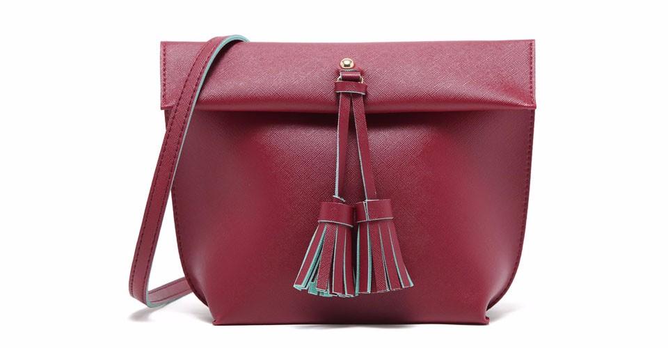 MICOCAH Red бесплатная доставка женщины плеча сумки кожа pu с tassel элегантный сплошной цвет hobos сумка одноместный ленты сумки сумки