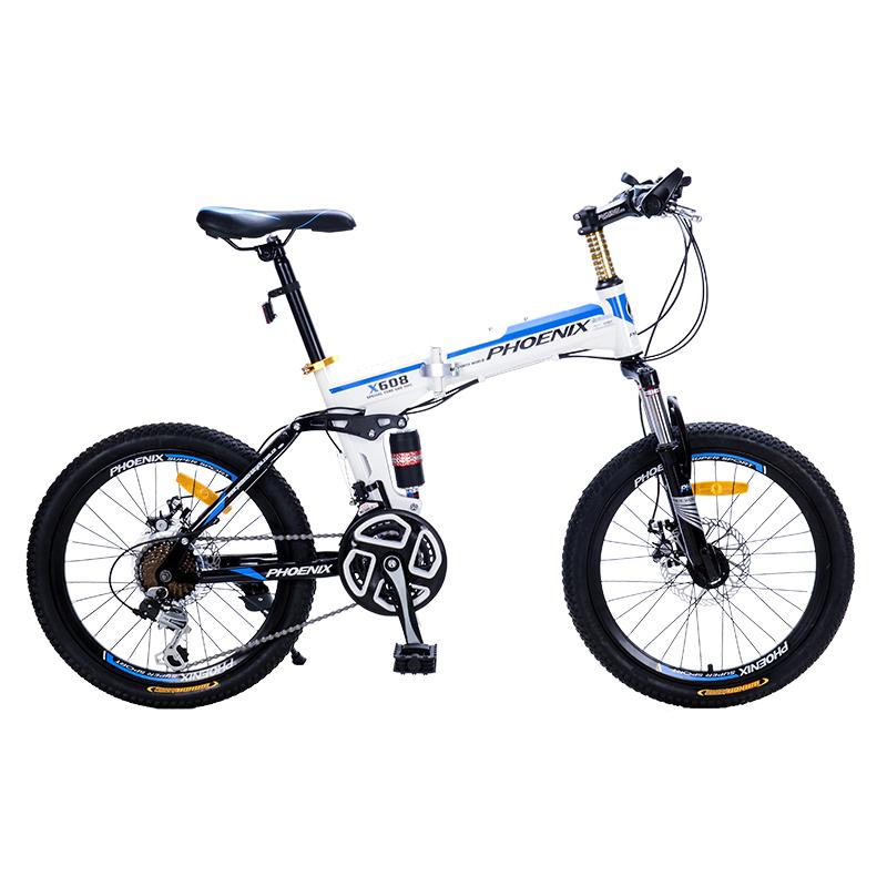JD Коллекция Бело-синий behee 26 дюймы 21 скорость складной горный велосипед средняя ось двойной дисковый тормоз