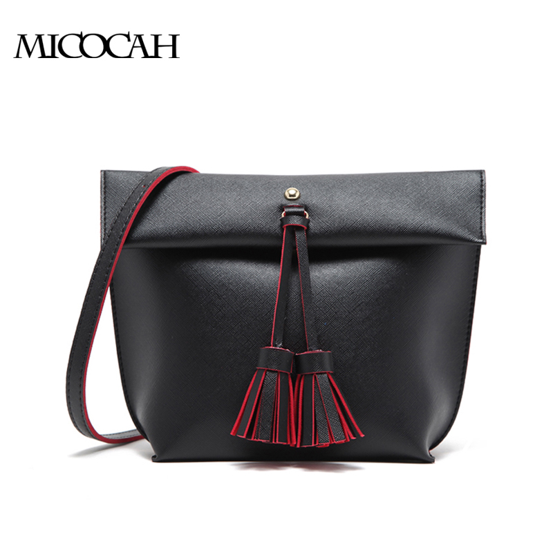 MICOCAH черный бесплатная доставка женщины плеча сумки кожа pu с tassel элегантный сплошной цвет hobos сумка одноместный ленты сумки сумки