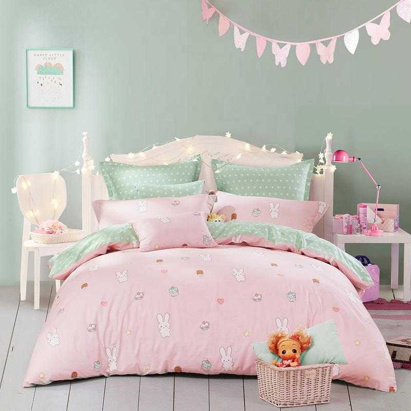 JD Коллекция кролик 15 м кровать mercury постельные принадлежности набор 4 штуки простыня с набивной чехол на одеяло 100% хлопок