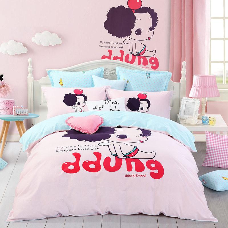 JD Коллекция девочка 18 м кровать mercury постельные принадлежности набор 4 штуки простыня с набивной чехол на одеяло 100% хлопок