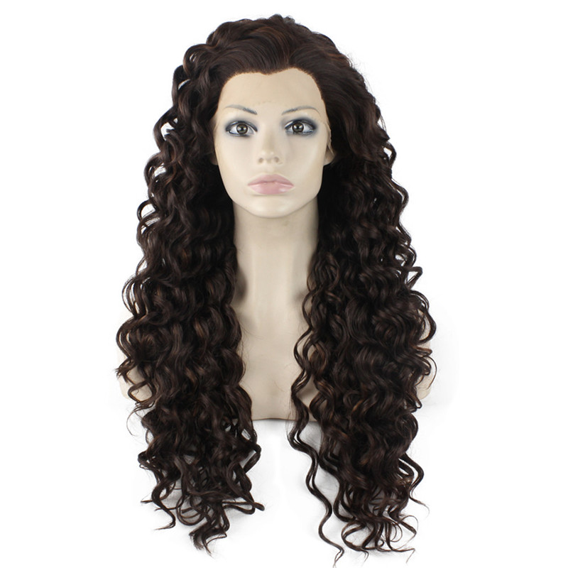 iwona iwona synthetic hair lace front long curly brown mix wig