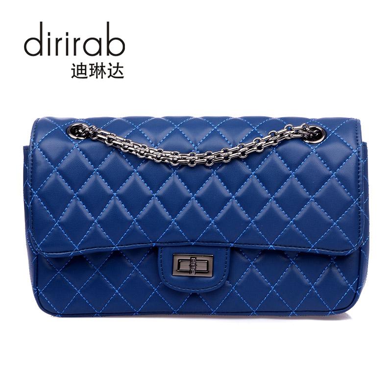 dirirab Blue marino женщина lingge цепи плечо сумка пакет милая леди элегантный черный