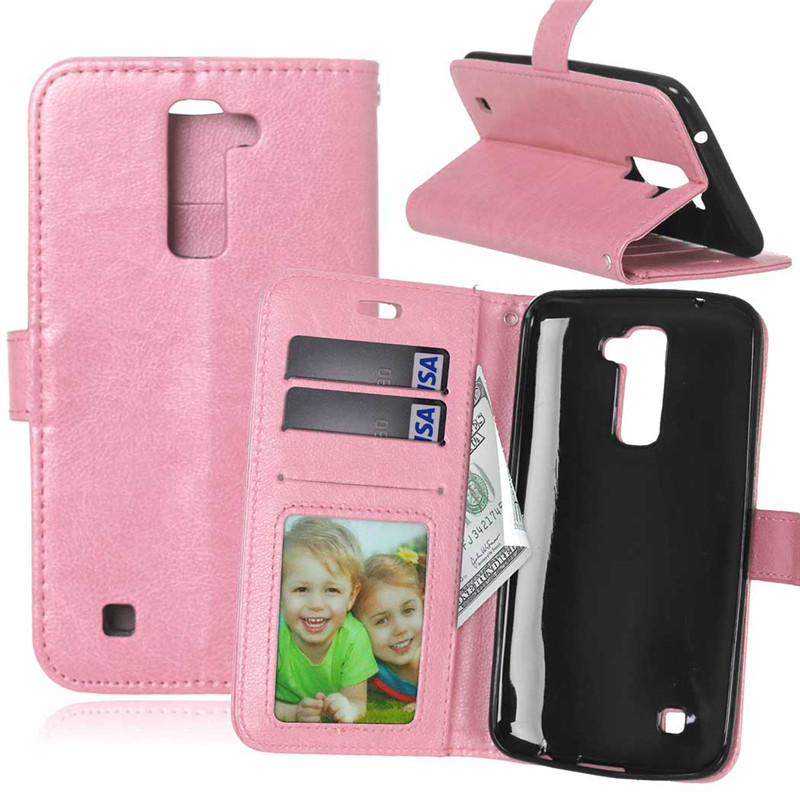 GANGXUN pink lovers and dandelion style embossing classic flip cover with stand function and credit card slot for lg k10