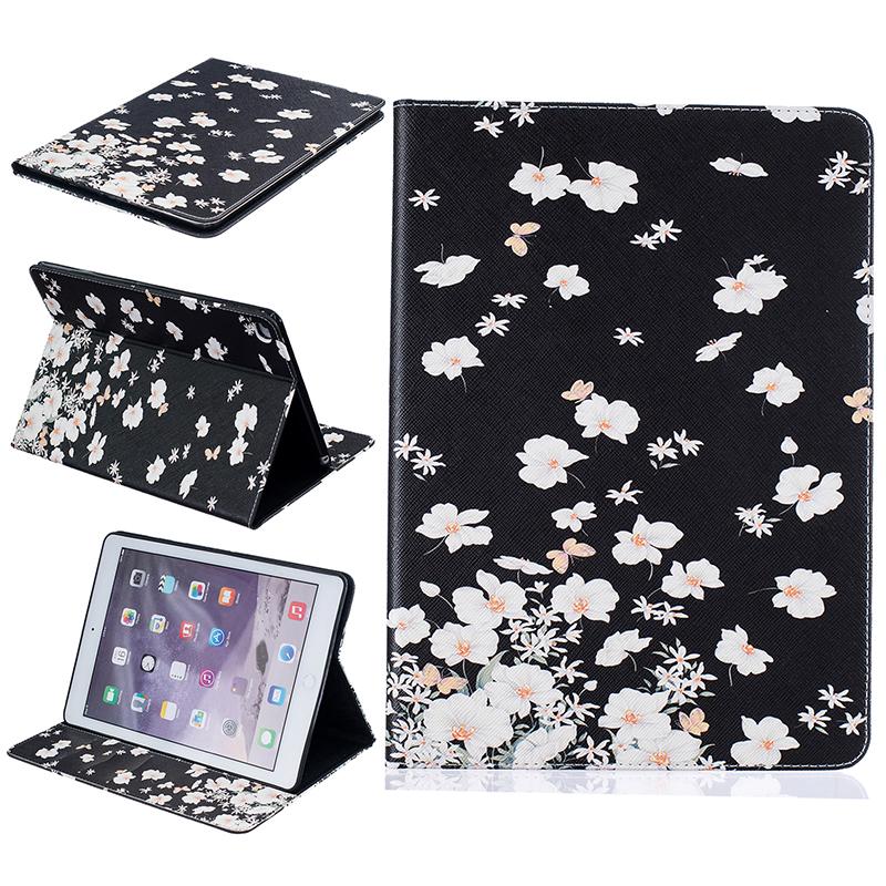 GANGXUN маленькие белые цветы стиль тиснение классический откидная крышка с функцией подставки и слот для кредитных карт для ipad air 5