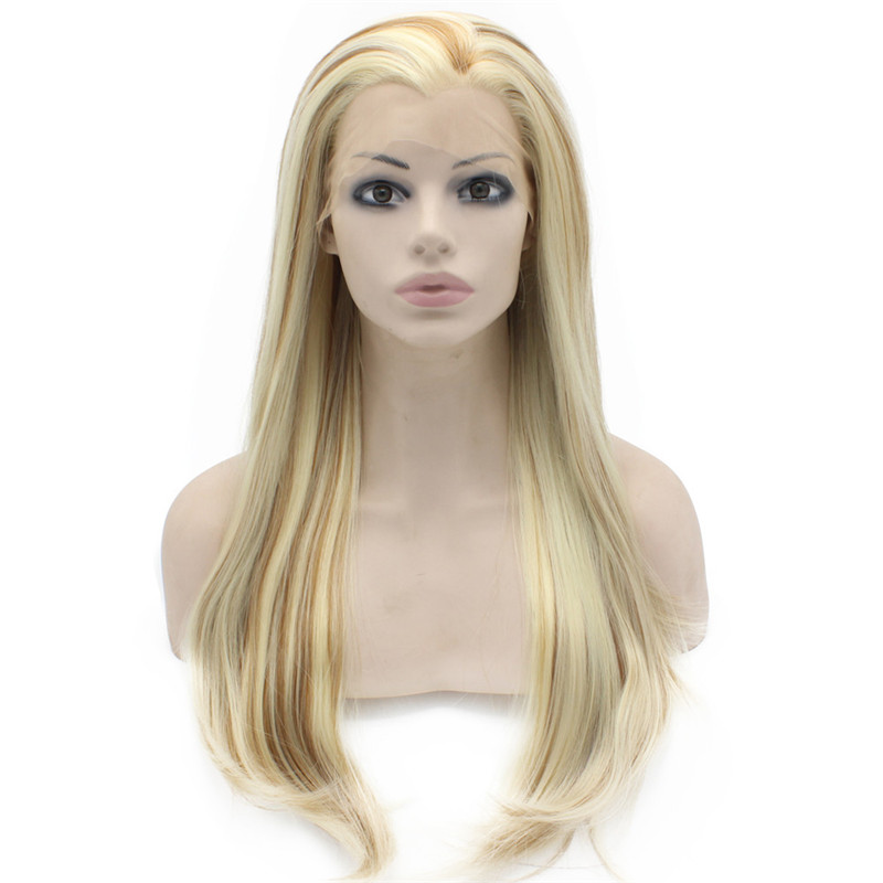 iwona n22 t613 3100 red mix blonde root color for cosplay party synthetic lace front wig sex summer style long silky straight wigs
