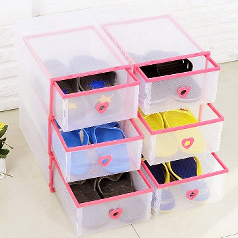 JD Коллекция розовый Женские модели цин вэй прозрачный ящик для обуви толстый ящик сочетание из пластиковых ящик для хранения женских моделей 6 установлен цвет