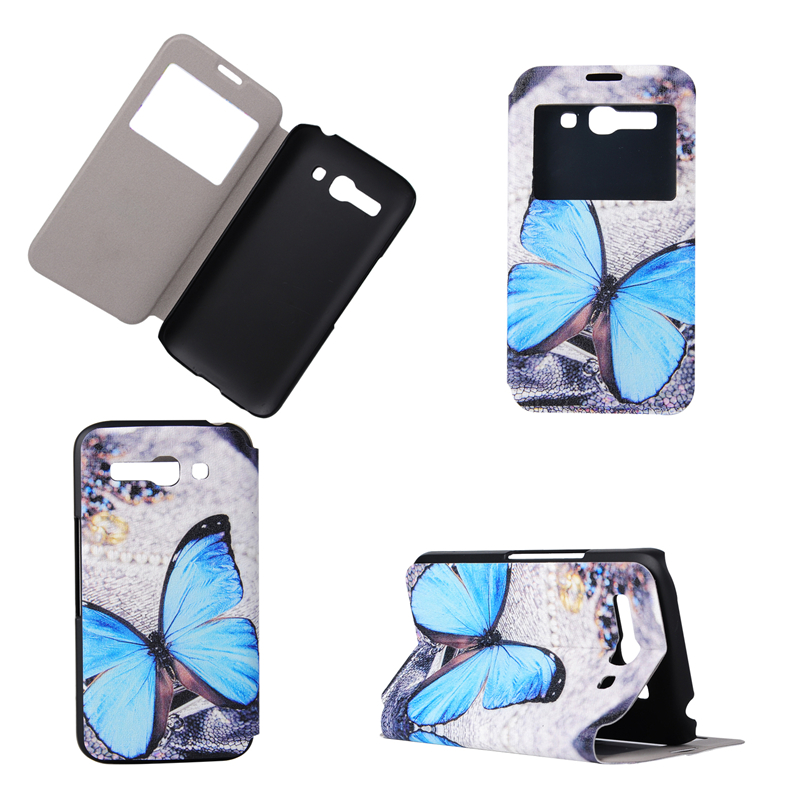 GANGXUN mooncase alcatel one touch pop c5 leather flip card holder pouch stand back чехол для alcatel one touch pop c5 blue