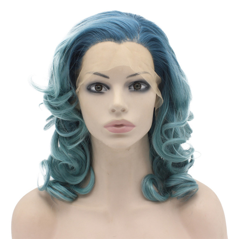 iwona party queens wigs curly green two tone lace front wig synthetic