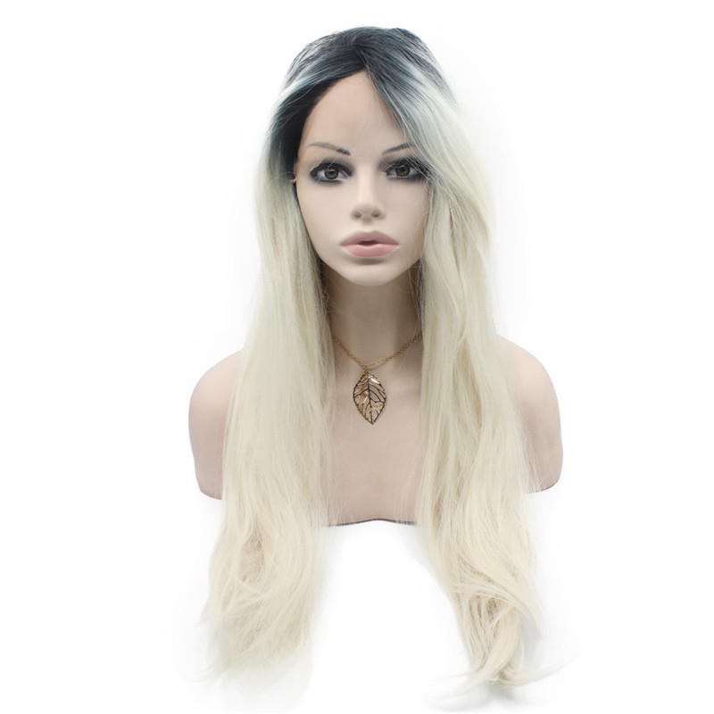 iwona iwona synthetic hair lace front long wavy black gray blonde two tone ombre wig