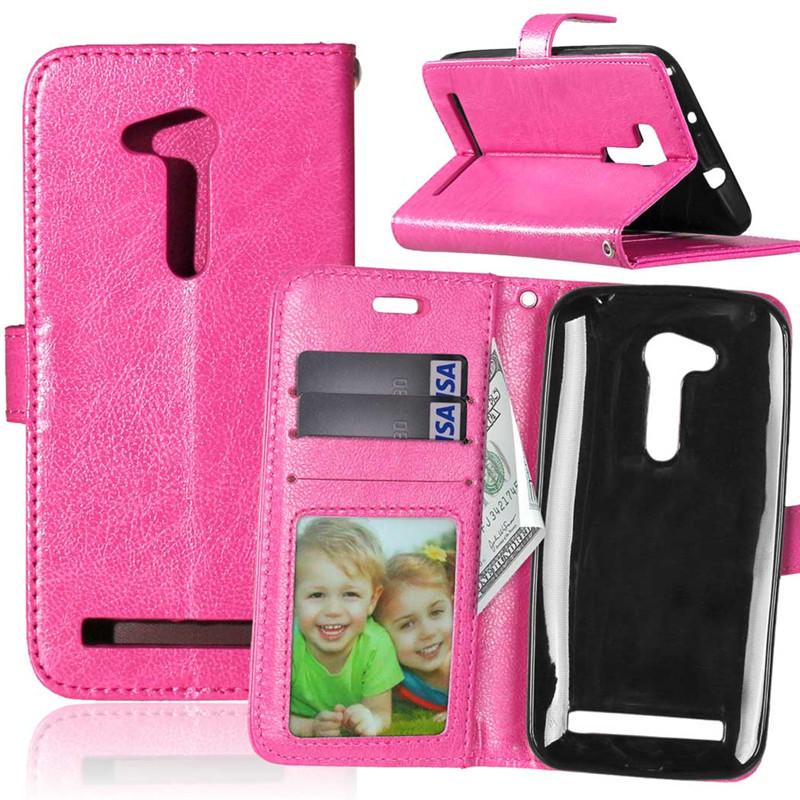 GANGXUN розовая красная классическая флип обложка с функцией подставки и слотом для кредитных карт для asus zenfone 3 zs550ml