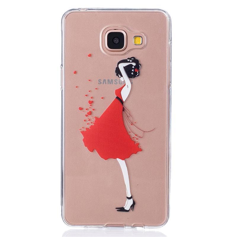 GANGXUN красный платье девушки pattern мягкий тонкий tpu резиновый силиконовый гель дело чехол для samsung galaxy j3 j310