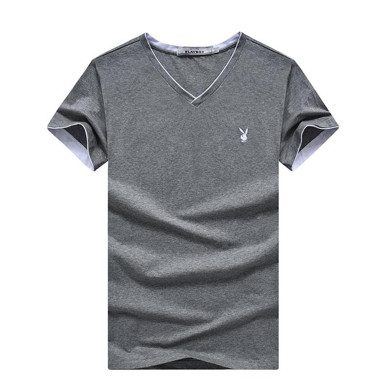 PLAYBOY Серый XXL playboy мужская модная и повседневная футболка с коротким рукавом и клуглым воротником