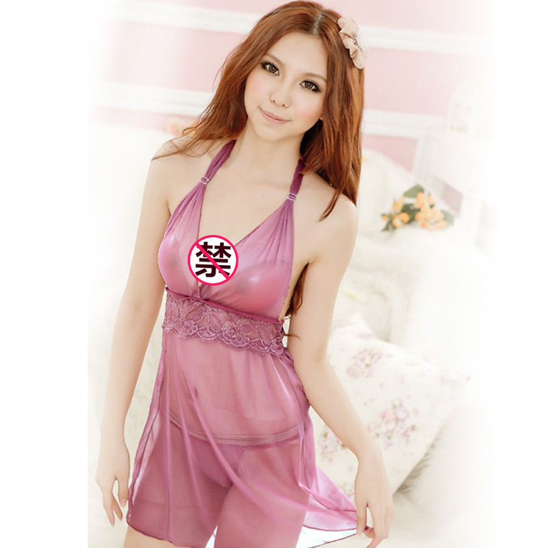 JD Коллекция Фиолетовый women sexy lace halter backless teddy bodysuit temptation sleepwear nightwear