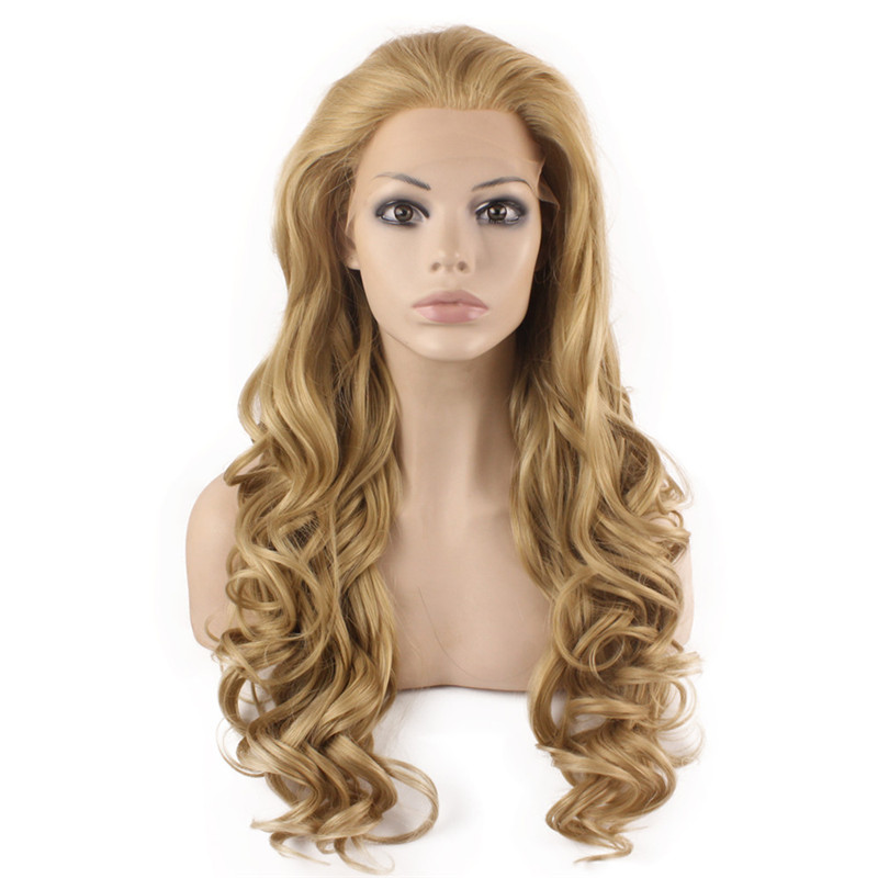 iwona iwona synthetic hair lace front long wavy ash blonde natural wig