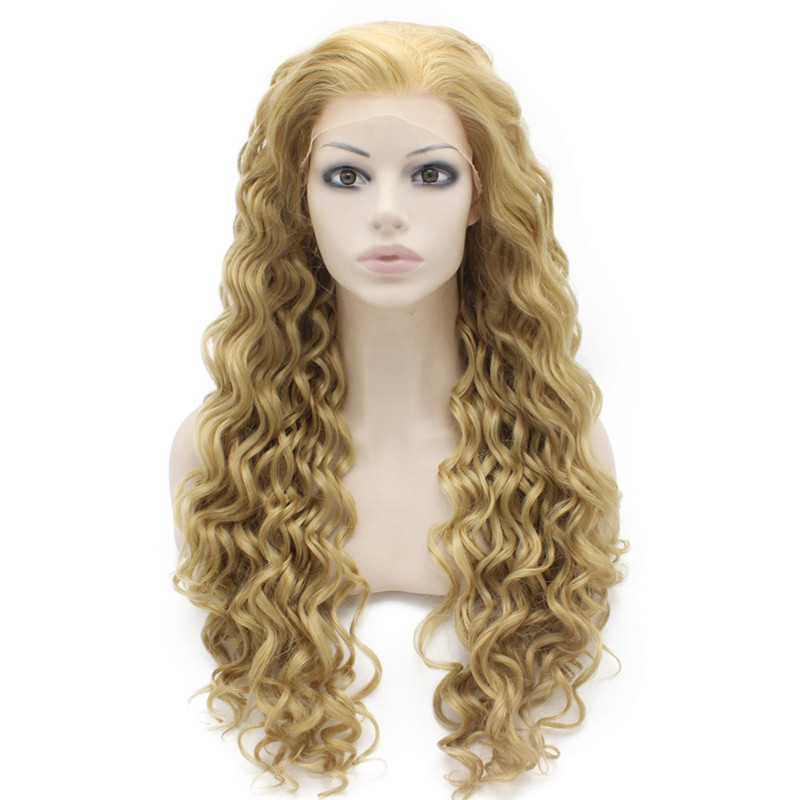 iwona iwona synthetic hair lace front long curly ash blond wig