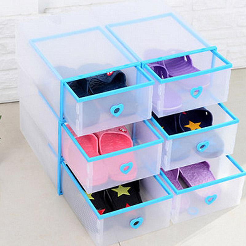 JD Коллекция синий Женские модели цин вэй прозрачный ящик для обуви толстый ящик сочетание из пластиковых ящик для хранения женских моделей 6 установлен цвет