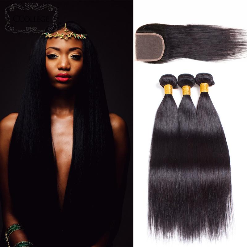 Перуанские прямые волосы перуанские виргинские волосы прямые с закрытием кружева CCollege Естественный цвет 18 20 22 с 18 фото