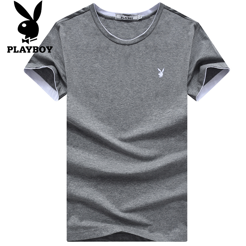 JD Коллекция серый 3XL playboy мужская модная и повседневная футболка с коротким рукавом и клуглым воротником