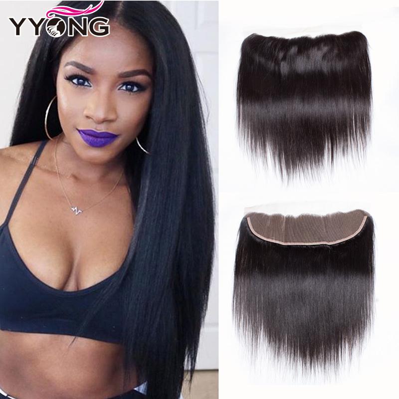 YYONG Естественный цвет 16 дюймов 100% полные перуанские девичьи волосы 13x4 lace frontal closure 8a virgin human hair straight ear to ear lace frontals быстрая доставка