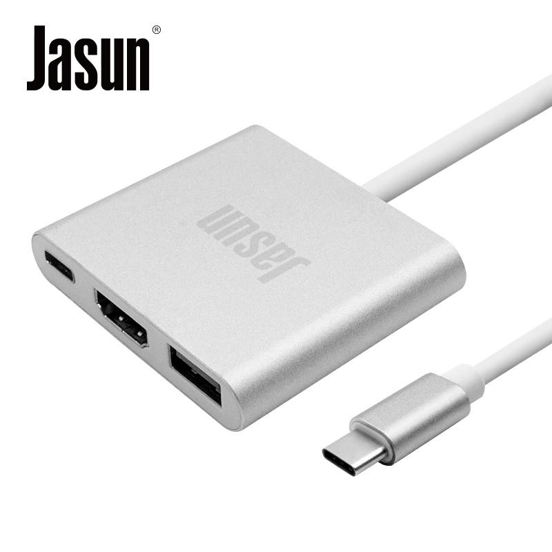 JD Коллекция Типа C трансфицировал алюминий HDMI USB30 дефолт mo миши momax type c конвертер hdmi usb c поддержка расширения адаптер apple macbook huawei подключенный телевизор проектор серебряный mate10