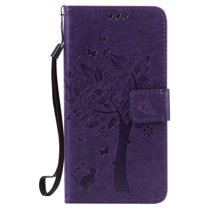 GANGXUN purple tree design pu кожа флип крышку кошелек карты держатель чехол для samsung j710