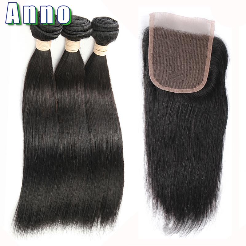 Малазийские волосы девственницы с закрытием Anno Natural Color 18 20 22 with 16 фото