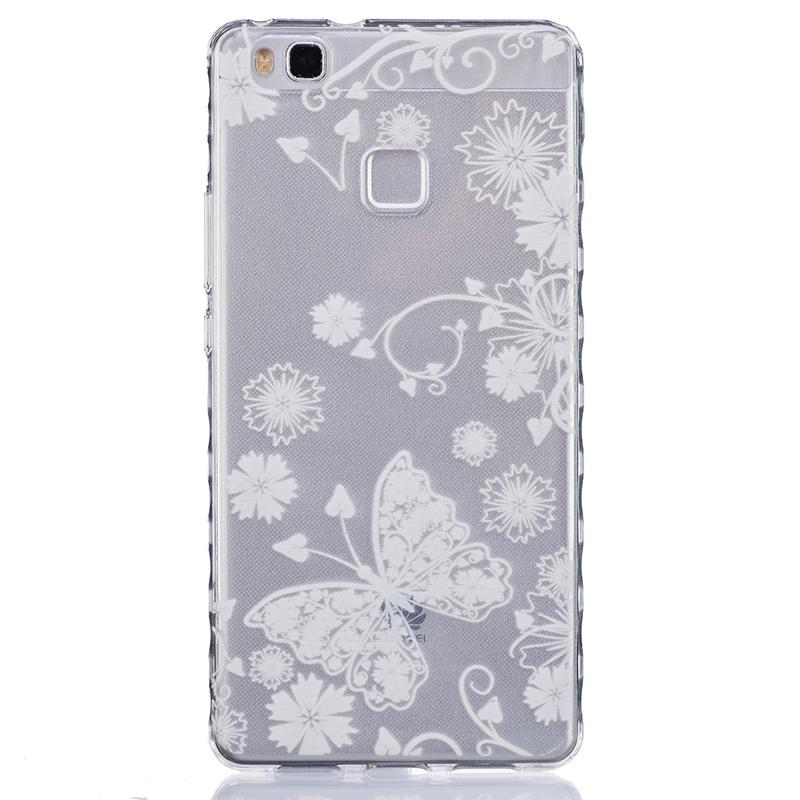 GANGXUN белая бабочка pattern мягкий тонкий tpu резиновый силиконовый гель чехол для huawei p9