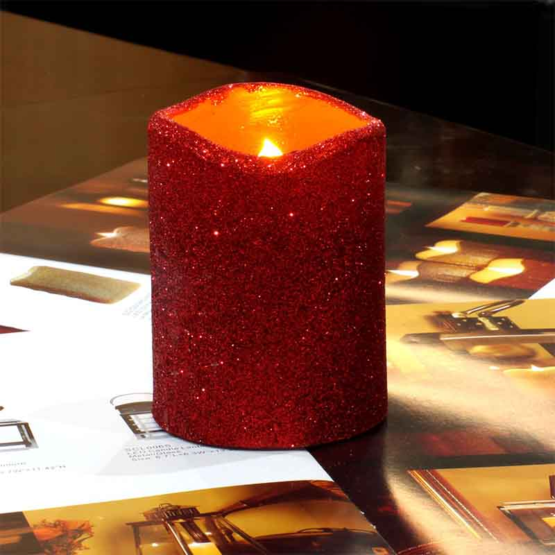 home impressions Красный dfl led pillar candles with timer flickering battery operated flameless real wax with glitter powder red 7 6x15 2 cm