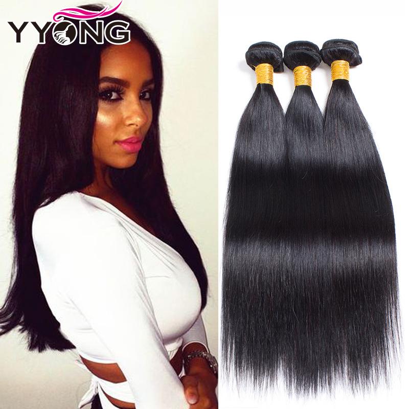 Бразильские виргинские волосы Прямая волна бразильские прямые волны волнистые волосы 3 пучка YYONG Естественный цвет 26 26 26 фото