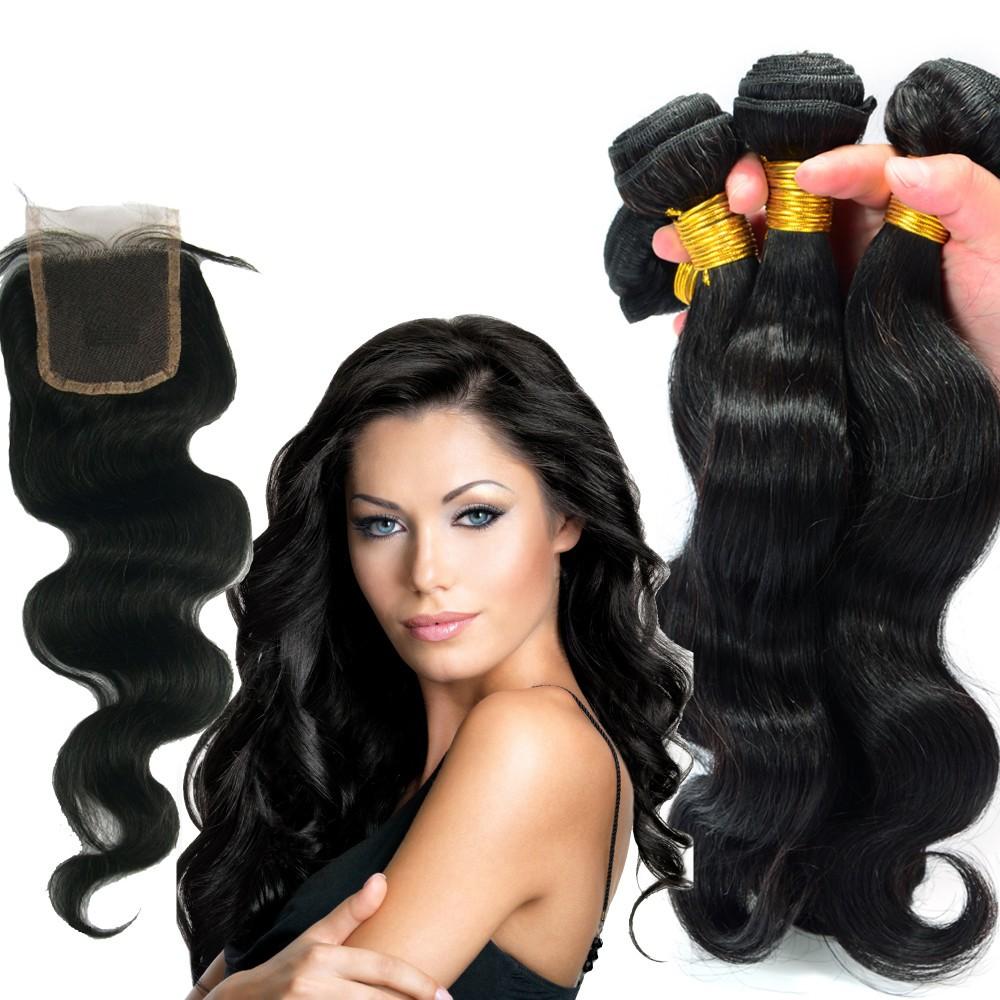 Уток волос с закрытием QDKZJ Естественный цвет три части 12 14 16 с 12 фото