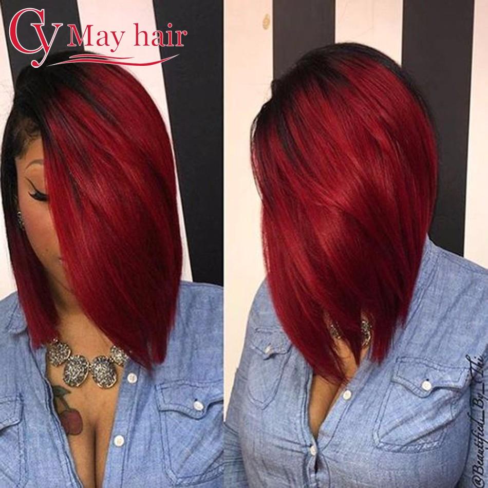 Бургундия Бразильские волосы прямые cy may hair T1B Бургундия 18 18 18 фото