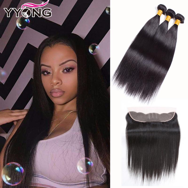 Перуанские прямые волосы Перуанские девственные волосы прямые волосы с кружевными лобными YYONG Естественный цвет 14 16 1812 фото