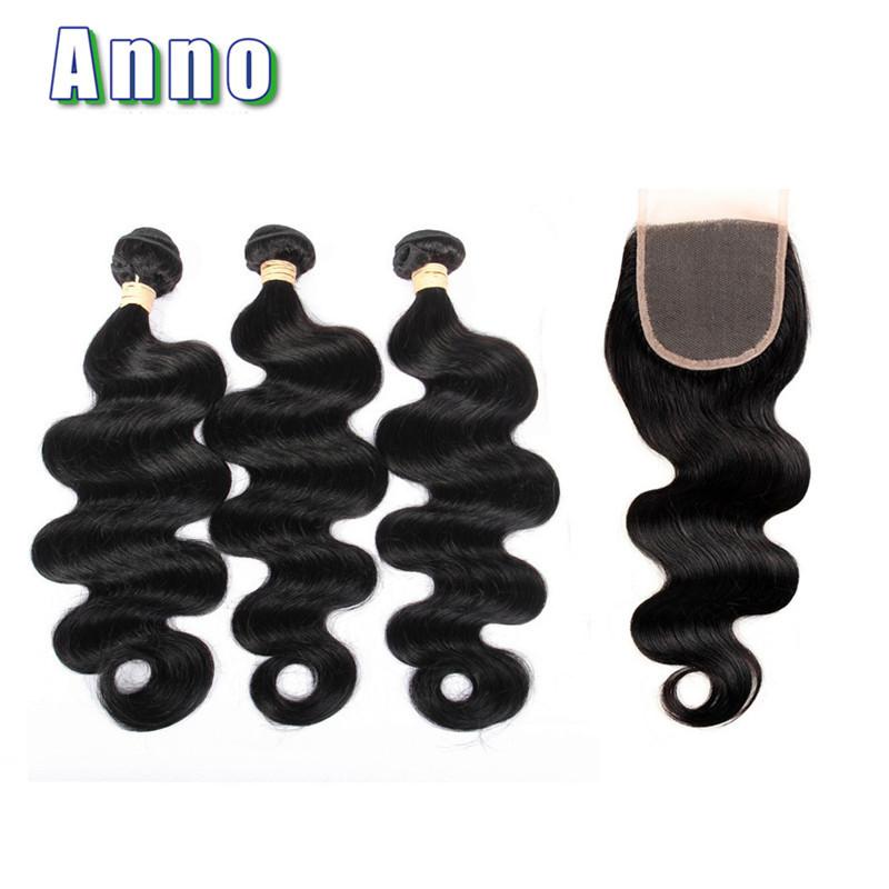 Перуанских волос девственницы с закрытием Anno Natural Color 16 16 16 with 12 фото
