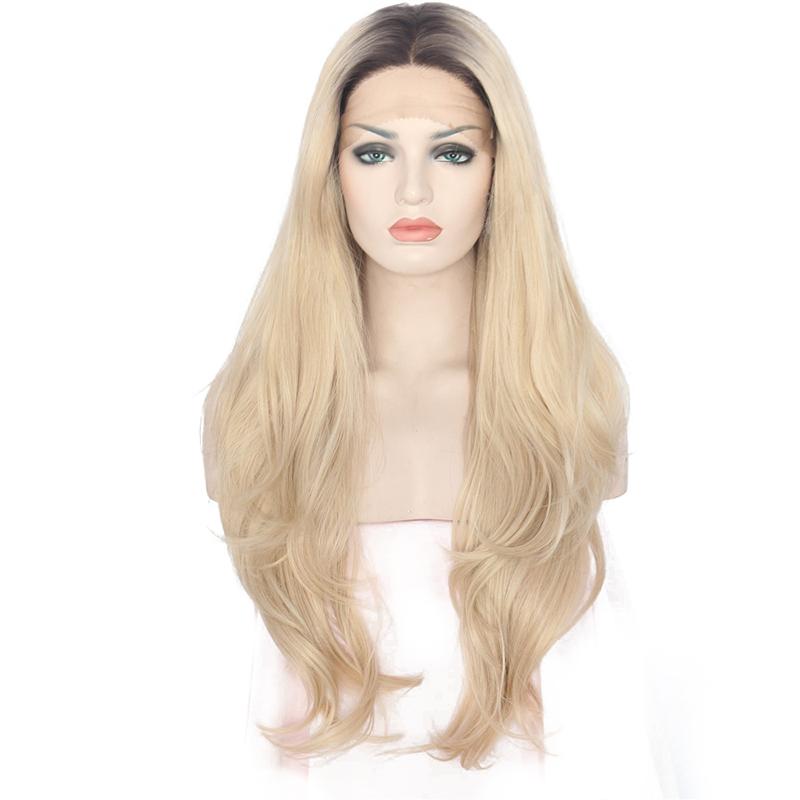 ANOGOL 22 inches anogol жароустойчивых природных длинные блондинки волнистые волосы парики темные корни синтетические кружева фронта парик