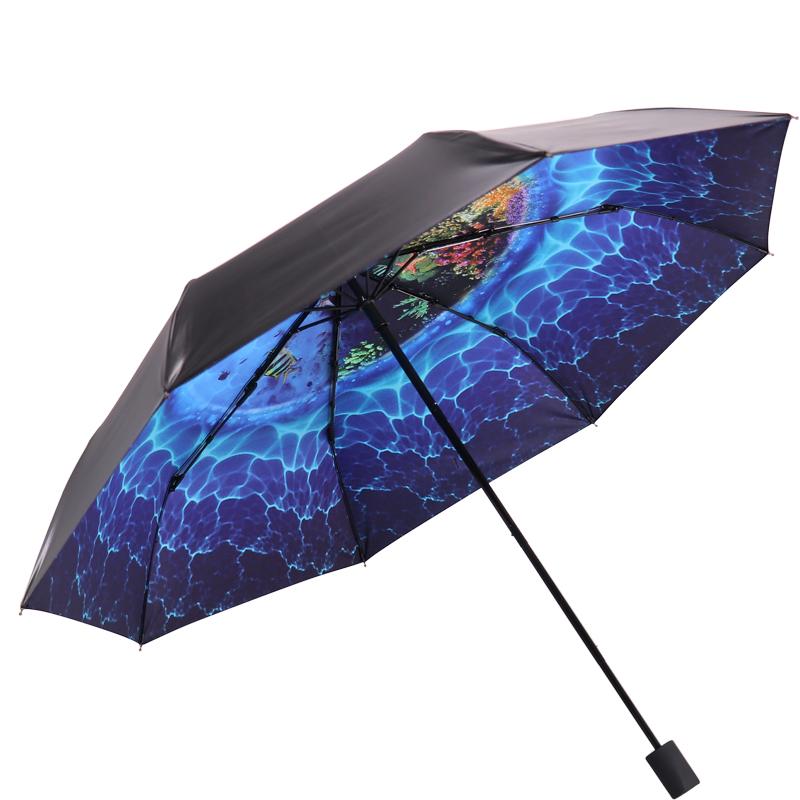 JD Коллекция Sea World дефолт jingdong [супермаркет] рай зонтик upf50 весь оттенок черного винила передачи сложенный зонтик зонтик зонт от солнца восход 30309dlcj