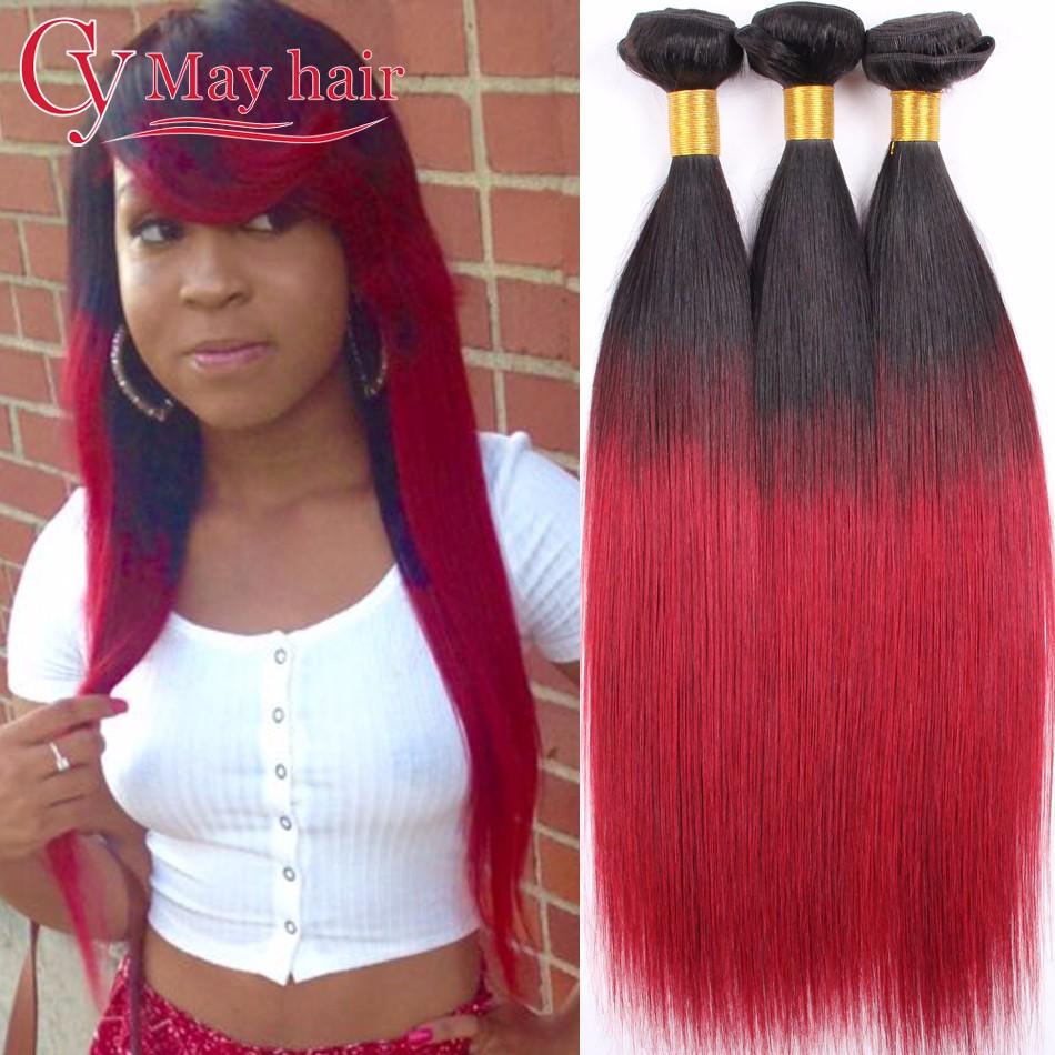 8A Малайзийский Virgin Hair Straight 3 Bundles cy may hair T1BBurgundy 16 18 20 фото