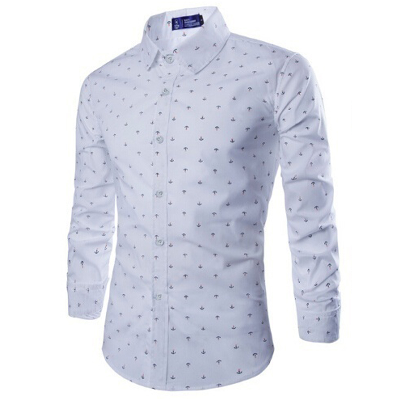 ZOGAA Белый цвет Номер S 2017 new wild men s casual long sleeved shirt printing anchor