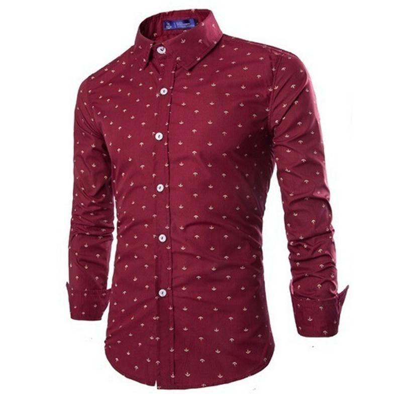 ZOGAA Бордовый Номер S 2017 new wild men s casual long sleeved shirt printing anchor