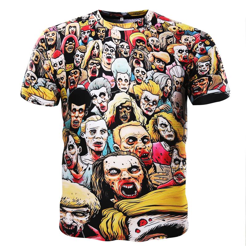 KALUNU Многой цвет Номер XXXL mens casual 3d personality skull printing short sleeve t shirt cotton sport black tees
