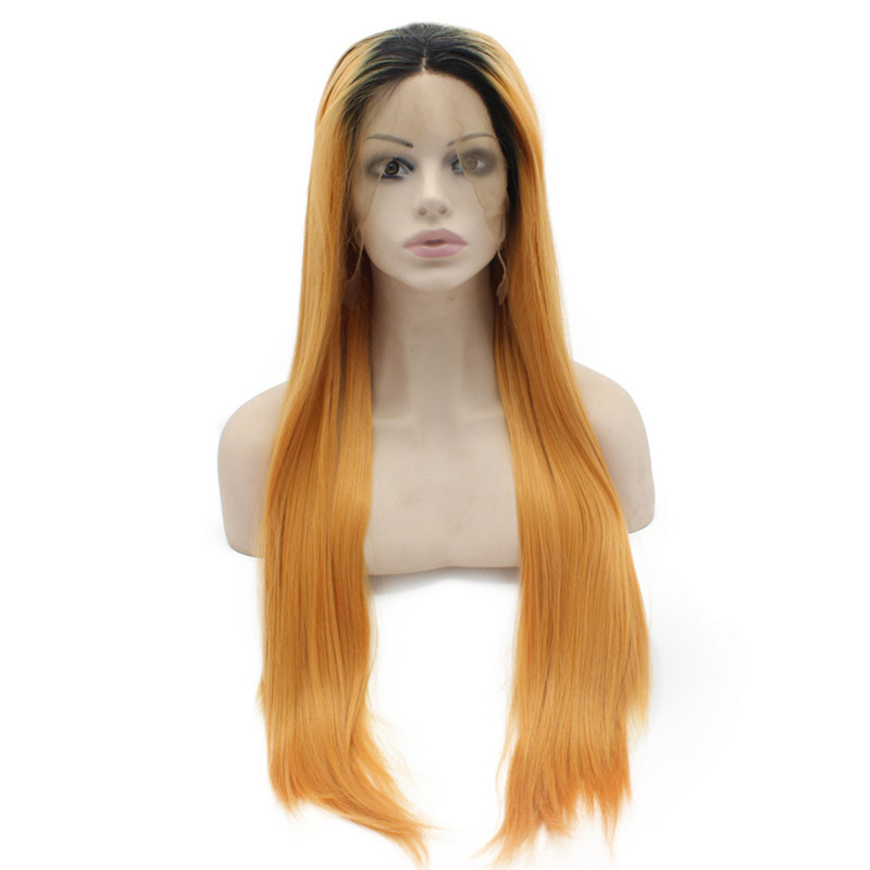iwona 30 inches sexy ombre synthetic hair wigs long straight synthetic lace front wigs 14 26inch free part heat resistant wig for african page 7